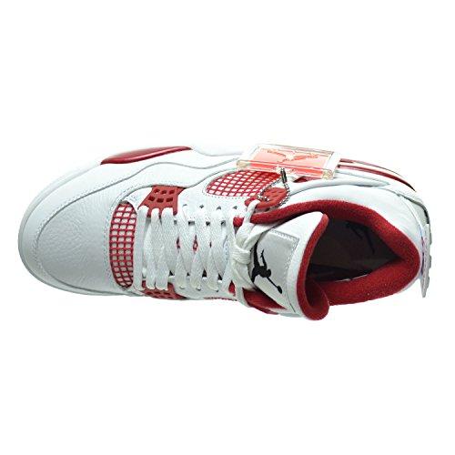 Nike Air Jordan 4 Retro, Chaussures de Sport Homme white, black-gym red