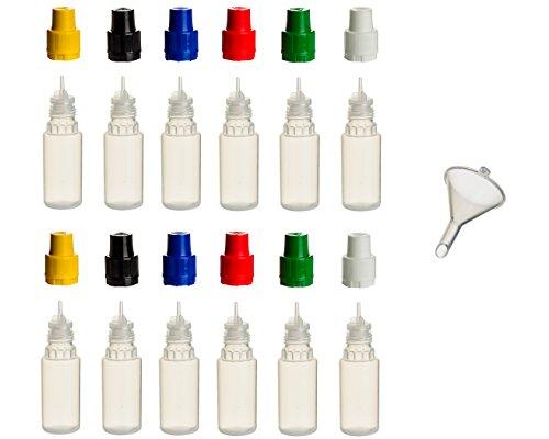 Liquid-10 Ml Flasche (12 Stück 10 ml PP-Flaschen MIT FARBIGEN DECKELN + Füll-Trichter - Quetschflasche Leerflasche Kunststofflasche Plastikflasche Spritzflasche quetschbar zum befüllen und mischen auch Liquide)
