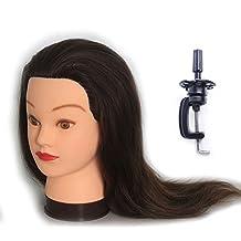 Cabeza Maniquí Peluqueria 100% Pelo Natural Practicas Formación Muñeca de la Cosmetología (con soporte) EHJ0414P