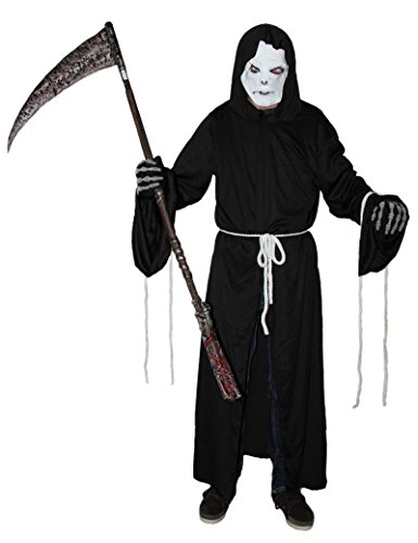 nmann Kostüm mit Maske für Herren Sensemann Sensenmannkostüm Halloween Herrenkostüm Halloweenkostüm L - XXXL, Größe:XXL ()