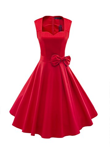LUOUSE 1950er 1940er Vintage Inspirierte Schatz-Abschluss Ball Kleid,Red,L