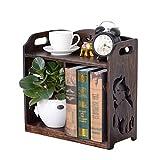 LIXMZZWJ Desk Organizer Scaffali, Libreria da Tavolo autoportante per Home Office 2 Livelli Retro Openwork Indoor Pot Pot Display Stand Rack