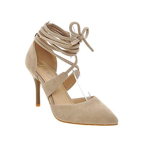 Guoar Stiletto Große Größe Damenschuhe Spitze Zehen D'Orsay&Two-Piece Pumps zum Schnüren C-Khaki