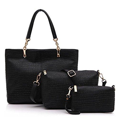 fanhappygo Fashion Retro Leder Damen elegant Krokodil pu Leisure Handtaschen Umschlag Schulterbeutel Umhängetaschen a set schwarz