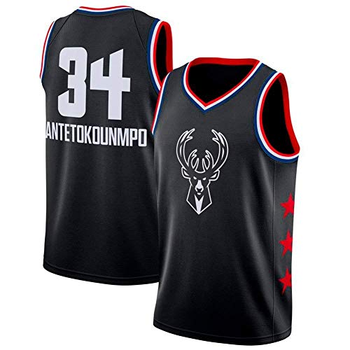 Jordan Nike Anzug (AKCHIUY NBA Milwaukee Bucks- # 34-Herren-Basketballtrikot - New Fabric Embroidered Swingman-Trikot MVP-NBA All-Star,Black-M)