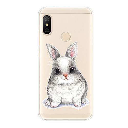 Uposao Kompatibel mit Xiaomi Mi A2 Lite Hülle Crystal Case Schutzhülle Hülle mit Muster Motiv Transparent TPU Silikon Durchsichtig Stoßfest Handyhülle Backcover Tasche,Kaninchen