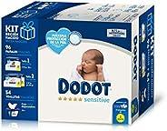 DODOT Sensitive Kit Recién Nacido, 28 Pañales Talla 1, 2-5 Kg + 68 Pañales Talla 2, 4-8 Kg + 54 Toallitas con