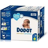 Dodot Sensitive Kit Recién Nacido: 28 pañales talla 1, 2-5 kg + 68 pañales talla 2, 4-8 kg + 54 Toallitas con caja dispensadora