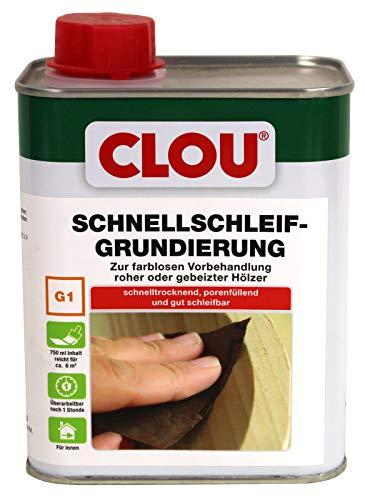 Clou G1 Schnellschleifgrundierung 2,5 L Schnell Schleif Grundierung als Zwischenschritt für unbehandelte oder gebeizte Hölzer.Zur Vorbereitung der Endbeschichtung mit Lacken, Lasuren, Ölen, Wachsen.