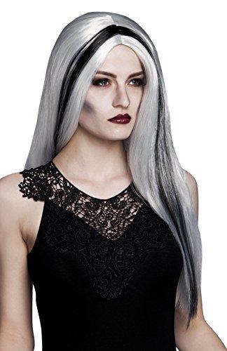 Halloweenia - Halloween Kostüm Accessoire Perücke Hexen- Vampire, Weiß (Mädchen Hexe Hut Mit Schwarzen Haaren)