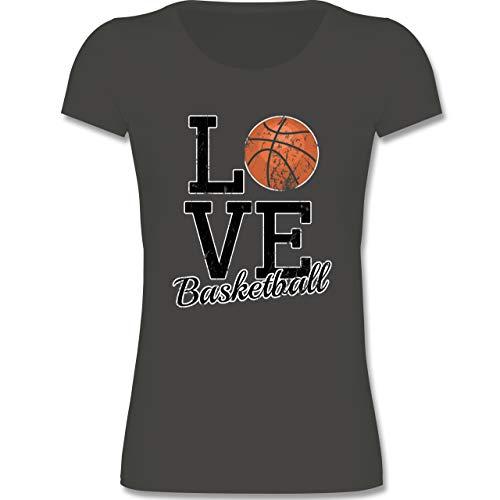 Sport Kind - Love Basketball - 134-146 (9-11 Jahre) - Anthrazit - F288K - Mädchen T-Shirt