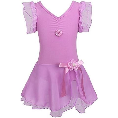 iEFiEL–Tutu Danza Danza Body costume, Bambino, Purple, 8-10 anni