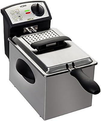 Solac FM6721 - Freidora profesional (2 l, acero inoxidable, lavable en lavavajillas)