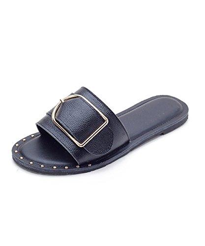CHAOXIANG Pantofole Da Donna Antiscivolo Ciabatte Piatte Sandali Da Surf Nuova Estate Ciabatte Spiaggia ( Colore : Nero , dimensioni : EU43/UK8.5/CN44 ) Nero