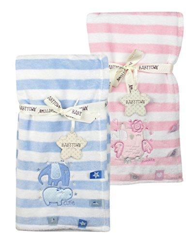 BABYTOWN Baby Girl Boy Blanket Fleece Wrap Comforter Soft Plush Stripe Hippo Owl