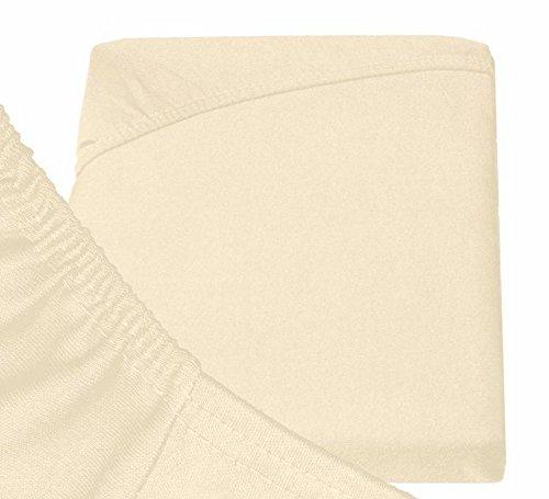 Double Jersey - Spannbettlaken 100% Baumwolle Jersey-Stretch bettlaken, Ultra Weich und Bügelfrei mit bis zu 30cm Stehghöhe, 160x200x30 Natur Weiss - 6