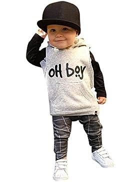 Bekleidung Longra Baby Kinderkleidung Anzüge für Jungen Langarm Shirt mit Kapuze Oberseiten + Hosen-Ausstattungen...