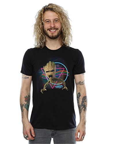 Marvel Herren Guardians of the Galaxy Neon Groot T-Shirt Schwarz