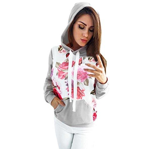 OVERDOSE Damen Mokingtop Floral Splice Printing Rundhals Pullover Bluse Tops T-Shirt (S, ()