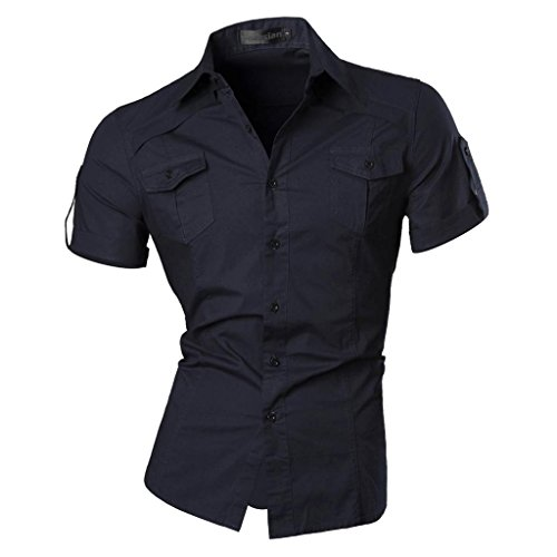 Jeansian Uomo Camicie Manica Corta Moda Men Shirts Slim Fit Casual Fashion 8360 Navy S