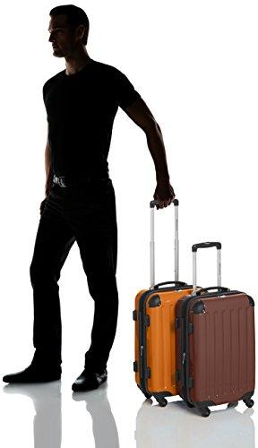 HAUPTSTADTKOFFER - Alex - 2 x Handgepäck Hartschale glänzend, TSA, 55 cm, 42 Liter, Graphit-Apfelgrün Braun-Orange