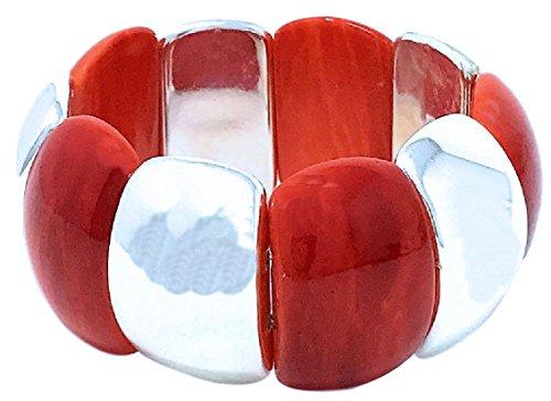 Dave's Collections Damen-Stretch-Armband, flexibel, Orange/Rot / Silber