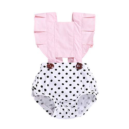 Julhold Kleinkind Säuglingsbaby schöne Fliegen Hülsen Rüsche Bänder Punkt Baumwollspielanzug Bodysuit Kleidung 3-24 Monate - Tweed-band