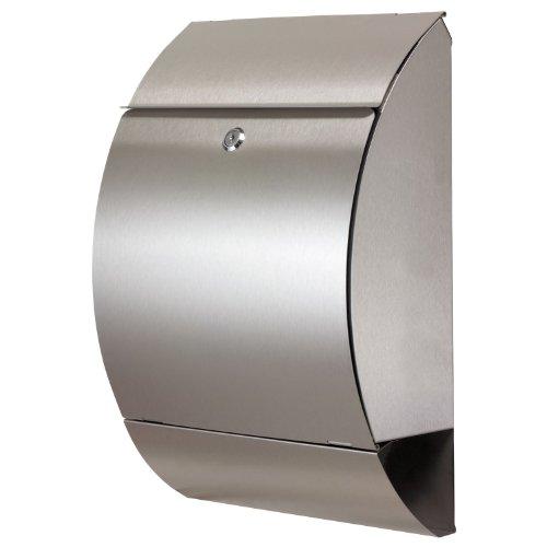 ZELSIUS Briefkasten, Edelstahl Wandbriefkasten, Moderner Einzelbriefkasten, Postbox, Mailbox, Designer Postkasten mit Zeitungsfach