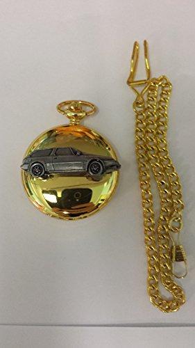 Volvo 480ref288Zinn Effekt Emblem auf eine poliert Gold Fall Herren Geschenk Quarz Taschenuhr hergestellt in Sheffield