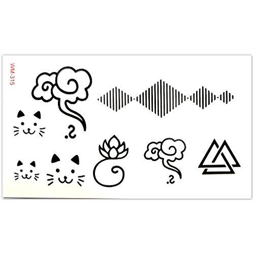 EROSPA® Tattoo-Bogen temporär - Katze / Blume / Wolke / Dreiecke - 10,5 x 6 cm