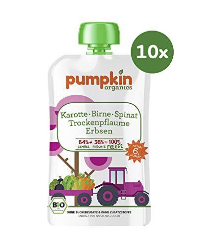 Pumpkin Organics FREUDE Bio Gemüse Quetschie aus Karotte, Spinat, Erbsen, Birne und Trockenpflaume (10 x 100g) I Babynahrung ab dem 6. Monat