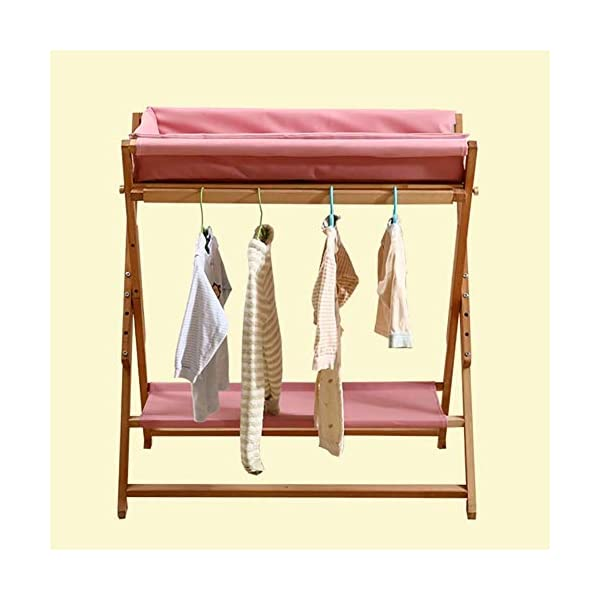 Baby Changing Table Foldable On Wheels, Heavy Duty Wooden Diaper Station Nursery Organizer for Infant/Newborn GUYUE Beech Material: Birch wood hard, good load bearing performance, no deformation, strong pressure resistance, clear texture. High-grade PU Leather: It has excellent wear resistance, excellent breathability, aging resistance, soft and comfortable. Size: As shown, 80x56x(80-85-90-95)cm, Bearing weight 150kg. 3