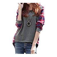 Women Plus Size Shirt Plaid Long Sleeves High-Low Hem Round Neck Casual Blouse Top