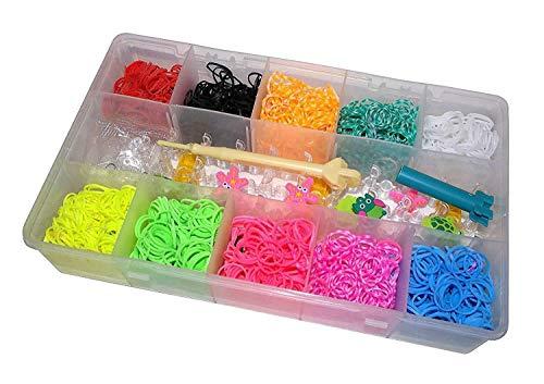 6000 Teile XXL Loom Starter Kit Set Bänder Bandz Gummibänder mit Charms Anhänger Webrahmen Haken S-Clips NEU