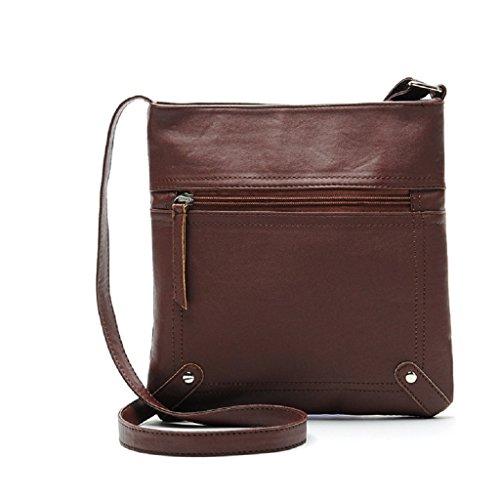 Borsa Familizo Elegant Leather Satchel delle donne di modo di Crossbody spalla borsa Messenger Bag (Caffè)