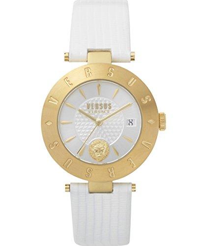 Versus Logo montre pour femme Bracelet cuir Blanc et doré avec Sp772118