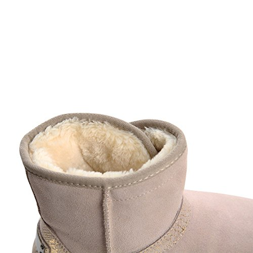 topschuhe24 664 Damen Leder Boots Stiefeletten Beige