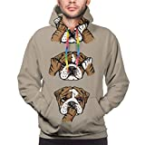 Huabuqi Englische Bulldogge Unisex Mode gedruckt Pullover Hoodies mit Kapuze Sweatshirts für Sport und Party L
