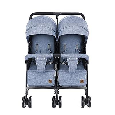 Cochecito de bebé gemelo Cochecito de bebé plegable y liviano Desmontable Siéntate plano Carrito de bebé de cuatro ruedas durante0-3 años