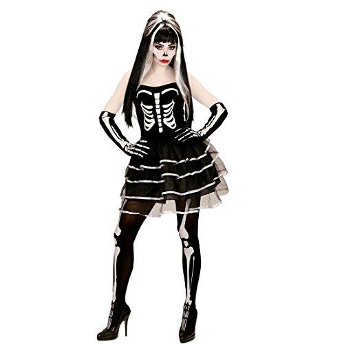 tüm Damen Skelettkostüm Halloween XL 46/48 Knochen Damenkostüm Gerippe Halloweenkostüm Frauen Zombie Verkleidung Erwachsene Sugar Skull Kleid (Halloween Kostüme Für Frauen Zombie)