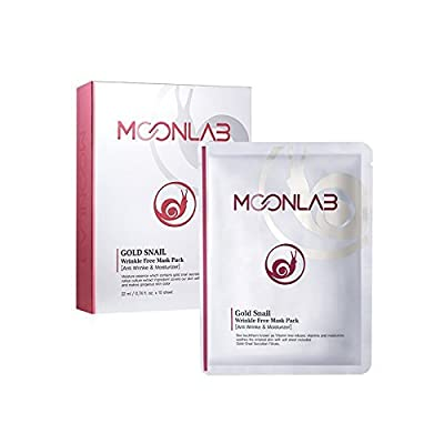 [MOONLAB] Gold Snail Wrinkle-Free Sheet Mask – Anti Aging, Improves The Skin Texture, Regeneration of The Skin, Pure Cotton Sheet, Pack of 10pcs by NATURAL F&P
