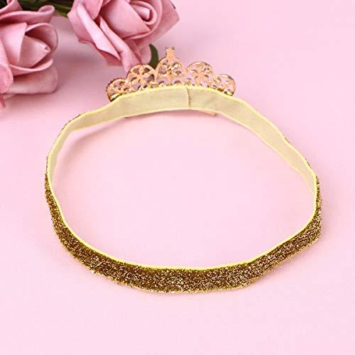 Lurrose Strass Crown Elastisches Haarband für Babys (Goldenes Band, Goldene Krone) -