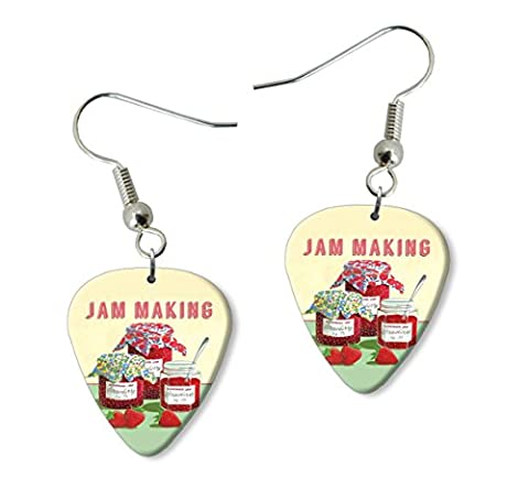 Jam Making Martin Wiscombe Guitare Médiator Pick Boucles d'oreilles Earrings Vintage Retro