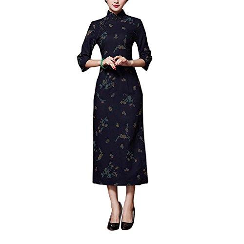 Weinlese-Elegantes Kleid Cheongsam langes Qipao Partei-Kleider für Frauen, ()