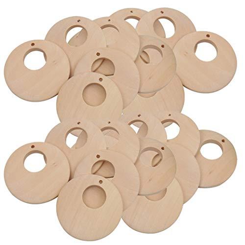 Teydhao 50 Stücke Anhänger Runden Charms mit Großem Loch DIY Holz Ellipse Hängende Zubehör für Halsketten Armbänder Ohrringe - Holzfarbe