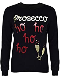 New Womens Ladies Girls Christmas Novelty Jumper Sparkly Proscecco Xmas Sweater Top Crew Neck Size 8- 18