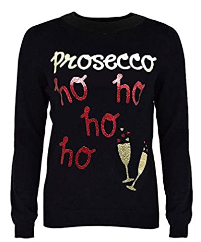 New Womens Ladies Girls Christmas Novelty Jumper Sparkly Proscecco Sequins Heart & Soul Xmas Sweater Top Crew Neck Size 8- 18 (16-18,