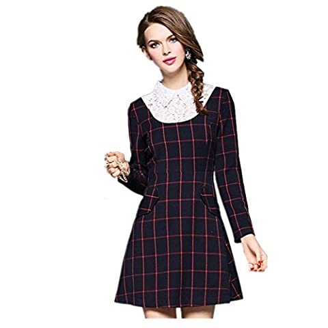 Col Plaid Lace Women 's The New long - Robe à manches , l