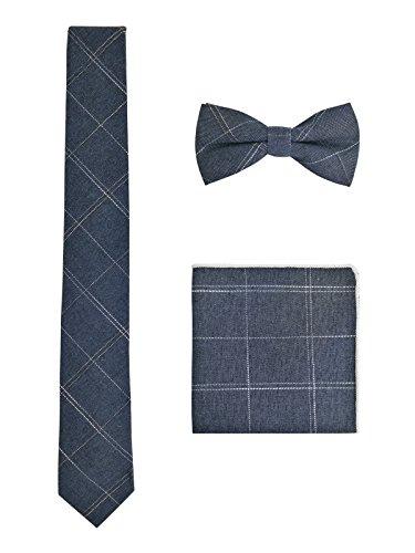 WANYING Herren Baumwolle 6cm Schmale Krawatte & Gebundene Fliege & Einstecktuch 3 in 1 Sets Trendmode Casual - Kariert Jeans Blau