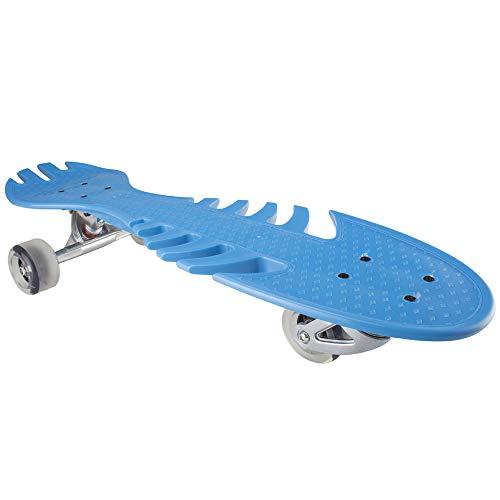 Canness-Recreation Vitality Skateboard der Kinder DREI-Vier-fahrbare Fisch-Knochen-Platte Hochelastisches PU-Blitz-Rad Hoch-Intensitätsrad-Skateboard. (Farbe : Blau)